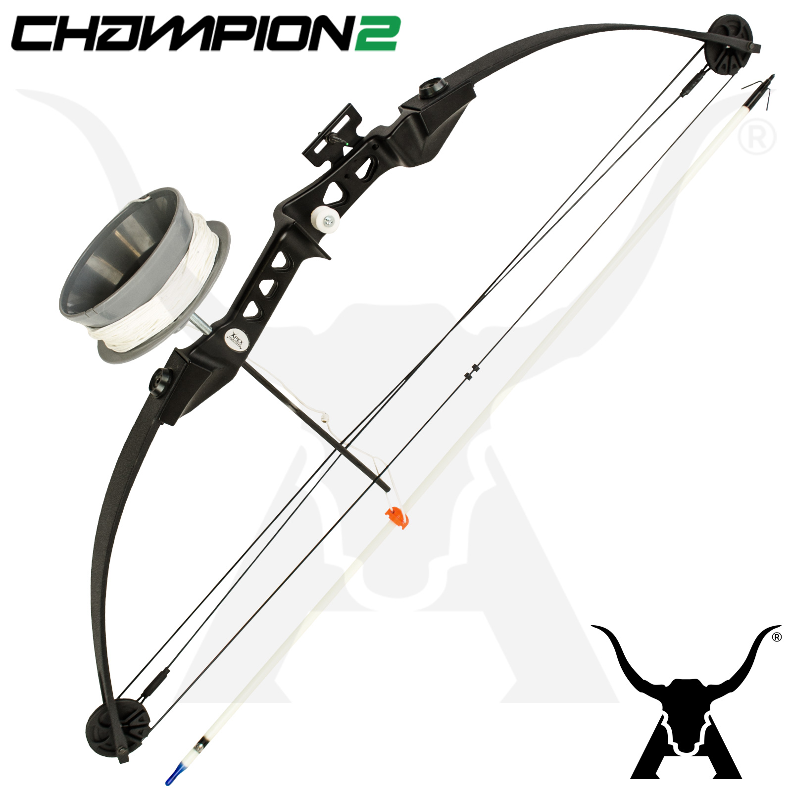 Apex camo champion ii bowfishing kit compound bow reel for Bow fishing reel