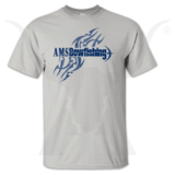 "AMS BOWFISHING T-SHIRT - GRAY ""AMS BOWFISHING LOGO"" T-SHIRT"