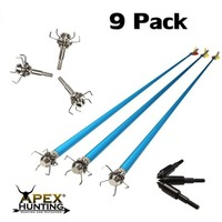 9x ALUMINIUM ARROWS (BLUE) + 9x SHOCKER BROADHEADS (FOR HUNTING)