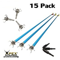 15x ALUMINIUM ARROWS (BLUE) + 15x SHOCKER BROADHEADS (FOR HUNTING)