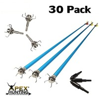 30x ALUMINIUM ARROWS (BLUE) + 30x SHOCKER BROADHEADS (FOR HUNTING)