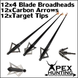 12x CARBON BLACKOUT ARROWS WITH 4-BLADED BROADHEADS AND TARGET TIPS