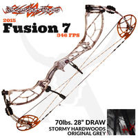 "Fusion 7 - 70lbs 28"" Draw - Stormy Hardwoods Original Grey - Obsession Bows"